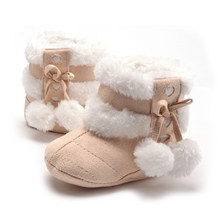 Fashion Baby Newborn Kids Crib Shoes Soft Soft Non-Slip Infant Girls Winter Warm Snow Booties Bebes Toddler Sneakers(China)