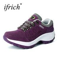Ifrich אביב/סתיו נשים נעלי ספורט נעלי ריצה של עור סניקרס אימון אדום סגול נשים נעלי אתלטיקה קל משקל