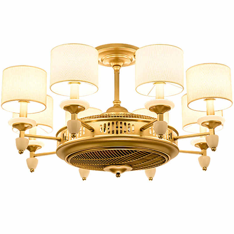 American Style Gold Cloth Art Ceiling Fans With Light For Hotel Foyer Lighting Drop Lamp And Electric Fan Double Function Apply Ceiling Fans Aliexpress