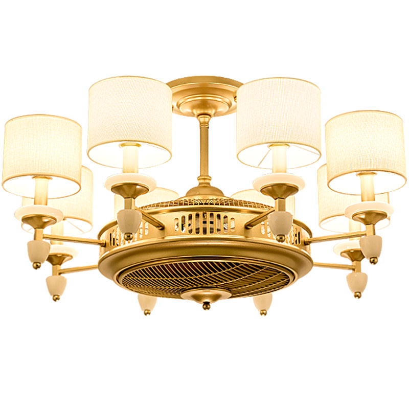 American style gold cloth art <font><b>ceiling</b></font> <font><b>fans</b></font> with light for hotel foyer lighting drop lamp and Electric <font><b>fan</b></font> double function apply image