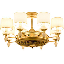 Amerykański styl złoty tkaniny sztuki wentylatory na sufit z światło dla hotelu przedpokój oświetlenie spadek lampy i wentylator elektryczny podwójna funkcja stosuje się|Wentylatory sufitowe|   -