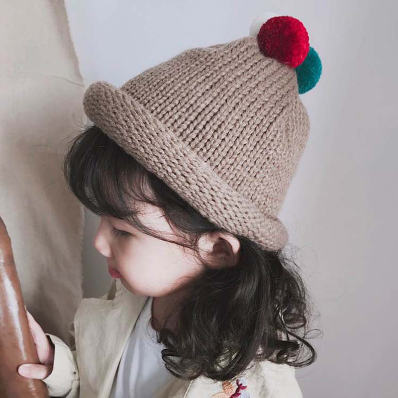 c41e395b878 MILANCEL 2018 Kids Girls Hat Knitted Cute Hat For Girls Ball Knitted Baby  Caps Boys Girls