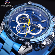 Forsining Mens Automatic Blue Watch Racing Big Dial Date Male Mechanical Stainless Steel Band Sport Wristwatch Relogio Masculino