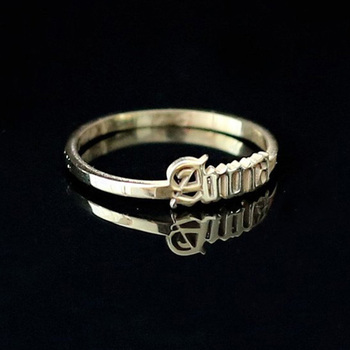 Old English Name Rings Custom Stainless Steel Letter for Couple Women Gifts Gold  Men Ring