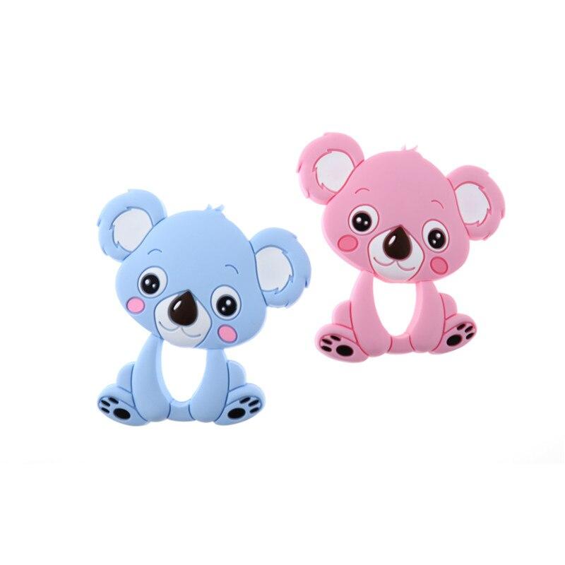 2PC Silicone Koala Teether Pendant Bear Bpa Free Baby Nursing Teething Jewelry Accessories Diy Silicone Teether Necklace silicone bear