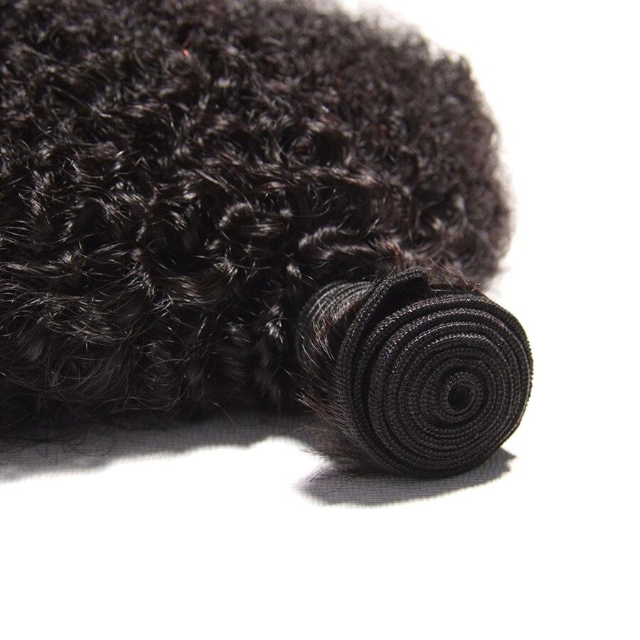 მონღოლური თმის Afro Kinky Curly - ადამიანის თმის (შავი) - ფოტო 5