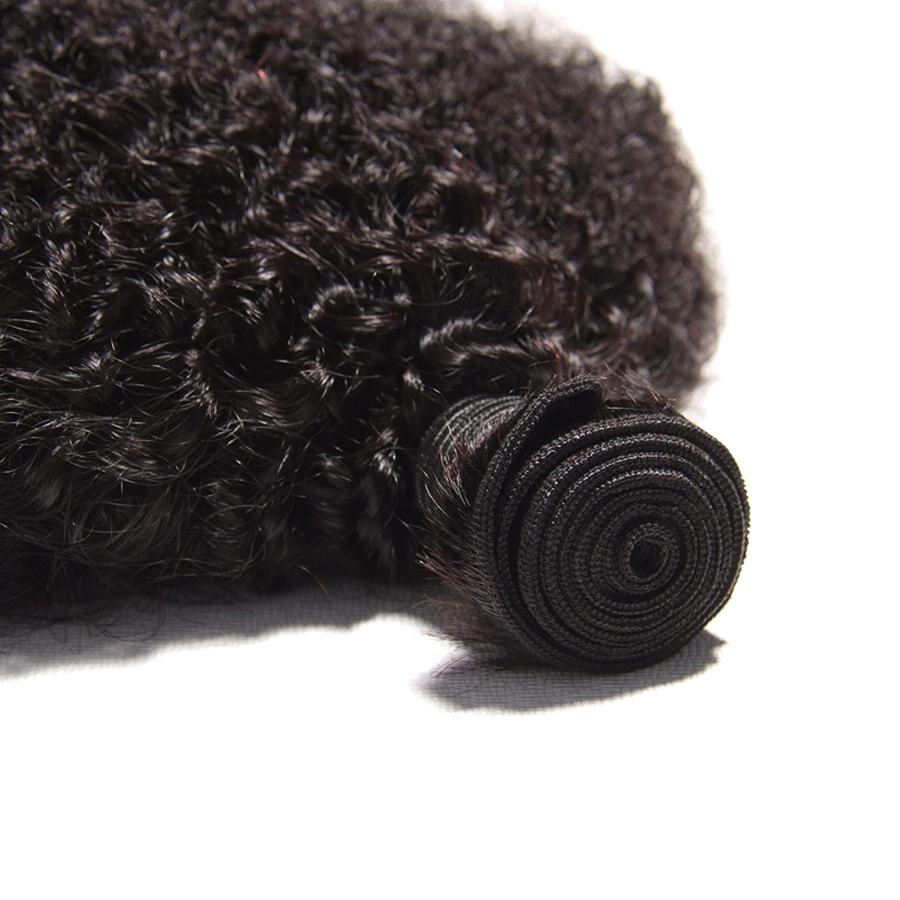 Mongol haj Afro Kinky göndör hajhosszabbítás Emberi haj köteg - Emberi haj (fekete) - Fénykép 5