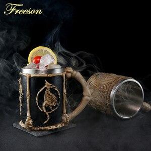 Image 2 - Crâne Dragon résine acier inoxydable bière tasse rétro chevalier Tankard Halloween tasse à café créatif Viking thé tasse Pub Bar décoration
