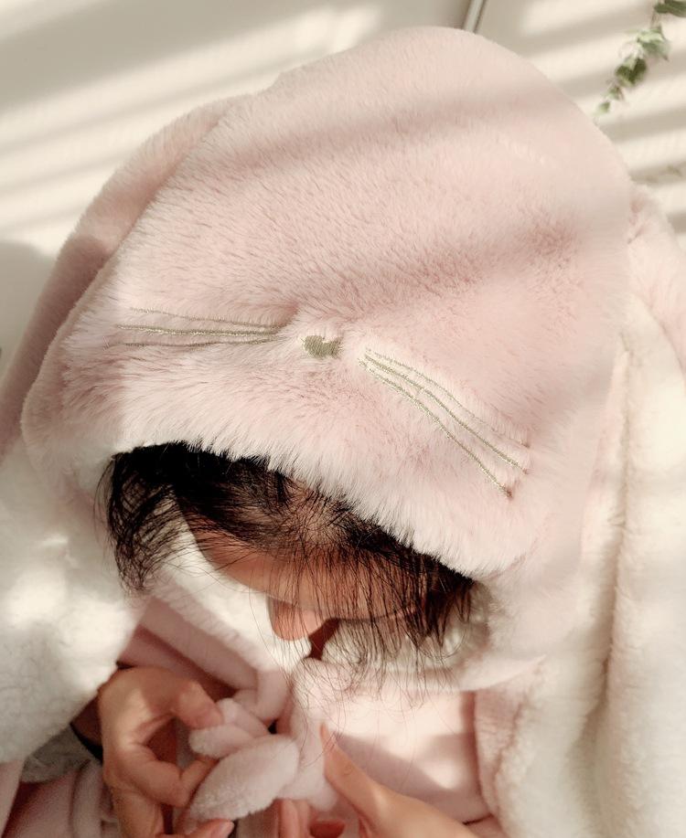 Cute Pink Comfy Blanket Sweatshirt Winter Warm Adults and Children Rabbit Ear Hooded Fleece Blanket Sleepwear Huge Bed Blankets 121