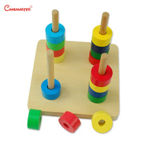 Wooden Round Shapes Math Toy Montessori Games Preschool Colorful Vertical Dowels Training Toys kids Mathematics LT020-3