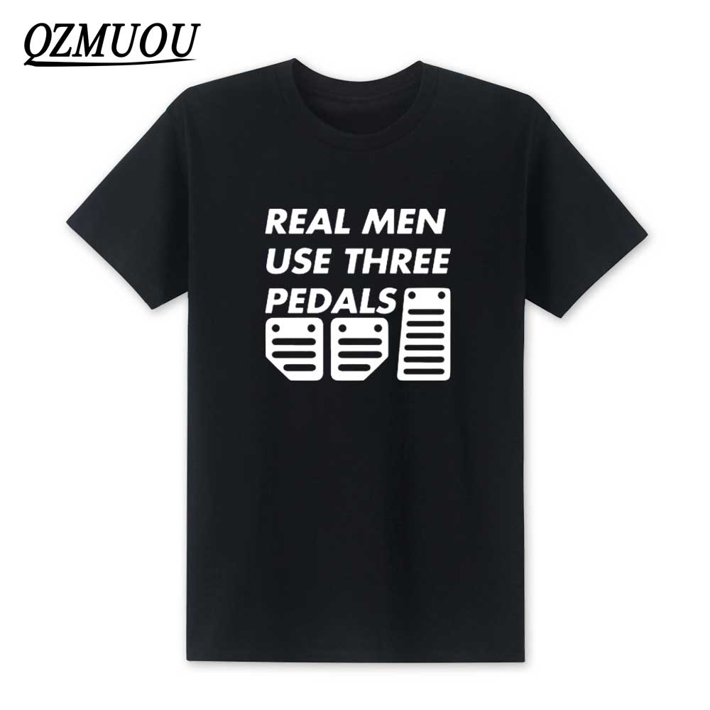 2018 New Real Men Use 3 Pedals T shirt Funny Car Supercar Mechanic Gift Check Engine Light Short Sleeve T-shirts Top Tees XS-XXL