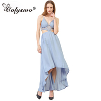 GD302 Woman Deep V Neck Floral Lace Bodice Cut Out High Low Maxi Long Dress 2016