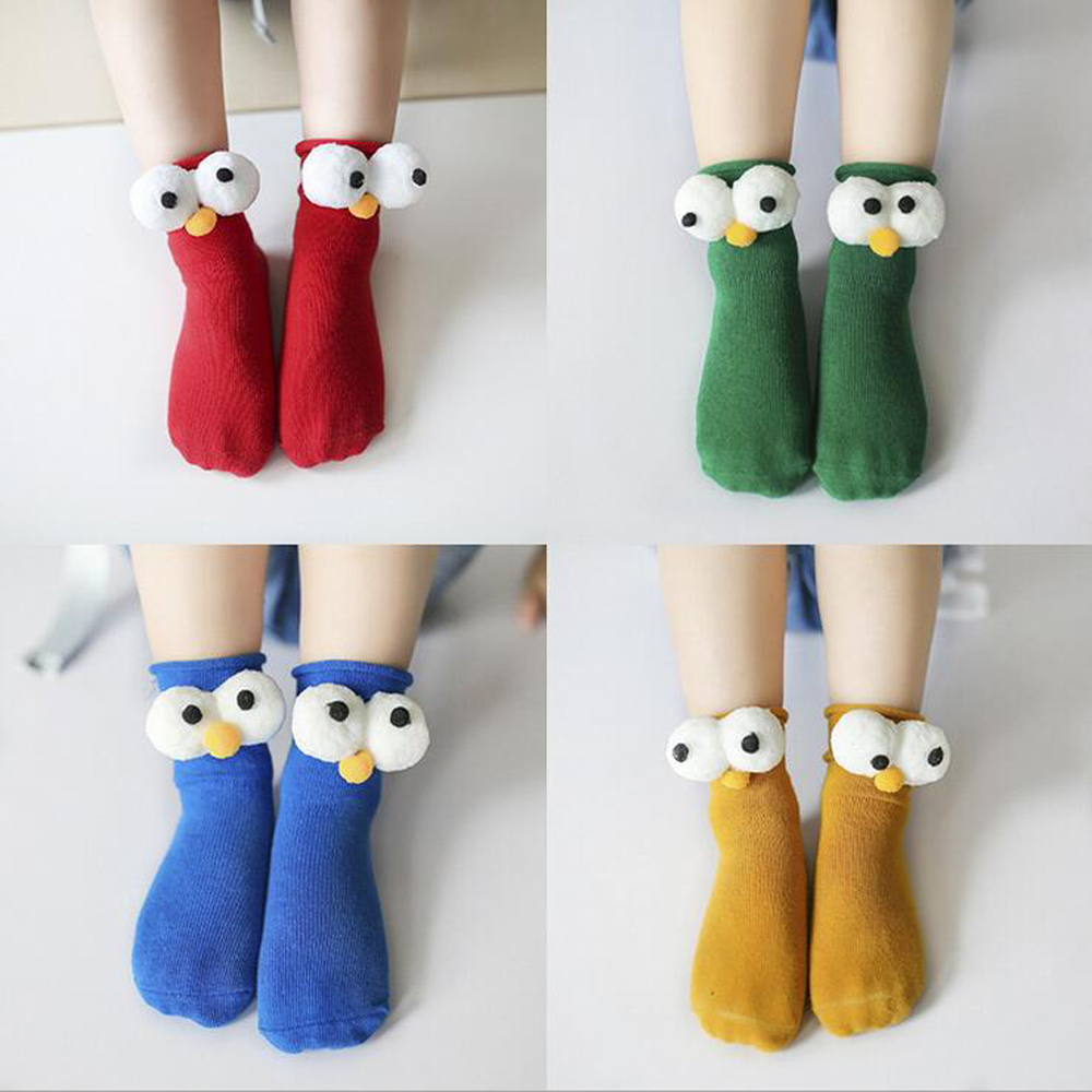2 Pair Unisex Lovely Cute Cartoon Big Eyes Kids Baby Socks Girl