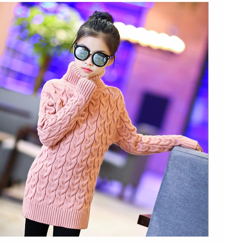2017 new high neck long knitting girls sweater spring autumn winter turtleneck knitted children sweaters kids girls thick red black beige pink tops 7 8 9 10 11 12 13 14 15 years little big teenage girls sweater winter casual children (12)