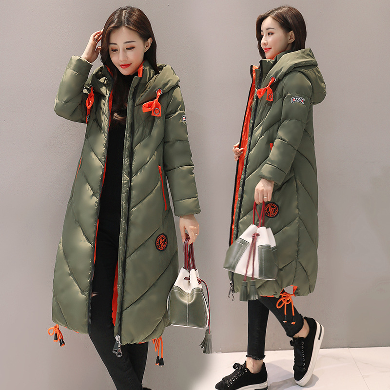 2017 Winter New Fashion Women Casual Thick Warm Long Sleeve Slim Coats Female Zipper Hooded Long Cotton-padded Jackets Parkas winter jacket women 2017 new female 5 color slim cotton padded jackets fashion short hooded zipper parkas coats a1013b 16601