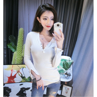 Sexy Slim Rivet Deep V Neck T Shirt Women Clothes 2018 Womens Long Sleeve Tops T