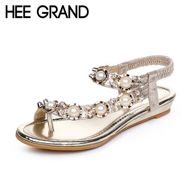 Hee grand marca mulher strass sandálias romanas plana com sapatos de verão praia boemia beading elastic band flip flops xwz2035
