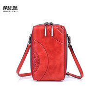 NAISIBAO New Genuine Leather handbags Cowhide women leather bag Fashion embossing real leather women shoulder phone bag