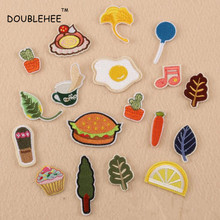 DOUBLEHEE Plant Leaves Hamburgers With Eggs Embroidered Iron On Patches Beauty Embroidery DIY Coat Shoes Accessories