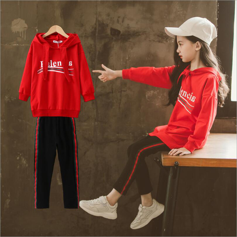Autumn New Fashion Childrens Wear Girls Clothing Sets Medium Length Style Hoodie and Pants 2 Pieces SuitAutumn New Fashion Childrens Wear Girls Clothing Sets Medium Length Style Hoodie and Pants 2 Pieces Suit