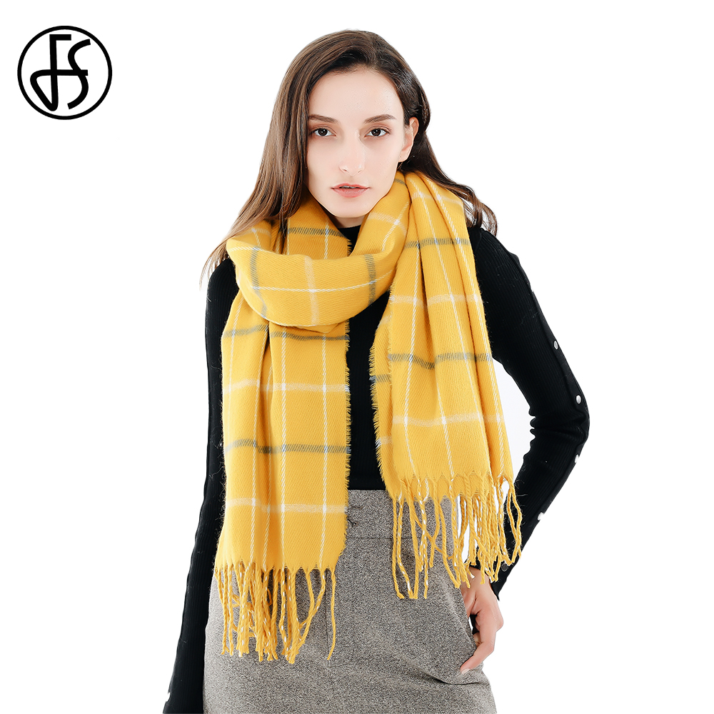 FS Autumn Winter Yellow Plaid   Scarf   Women Cashmere   Scarves   Large Long Blanket Warm Shawls And   Wraps   With Tassels