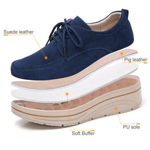 Image 3 - 2019 Spring Women Platform Sneakers Shoes Leather Suede Ladies Lace Up Chaussure Femme Creepers Moccasins Flats Shoes Woman 3929