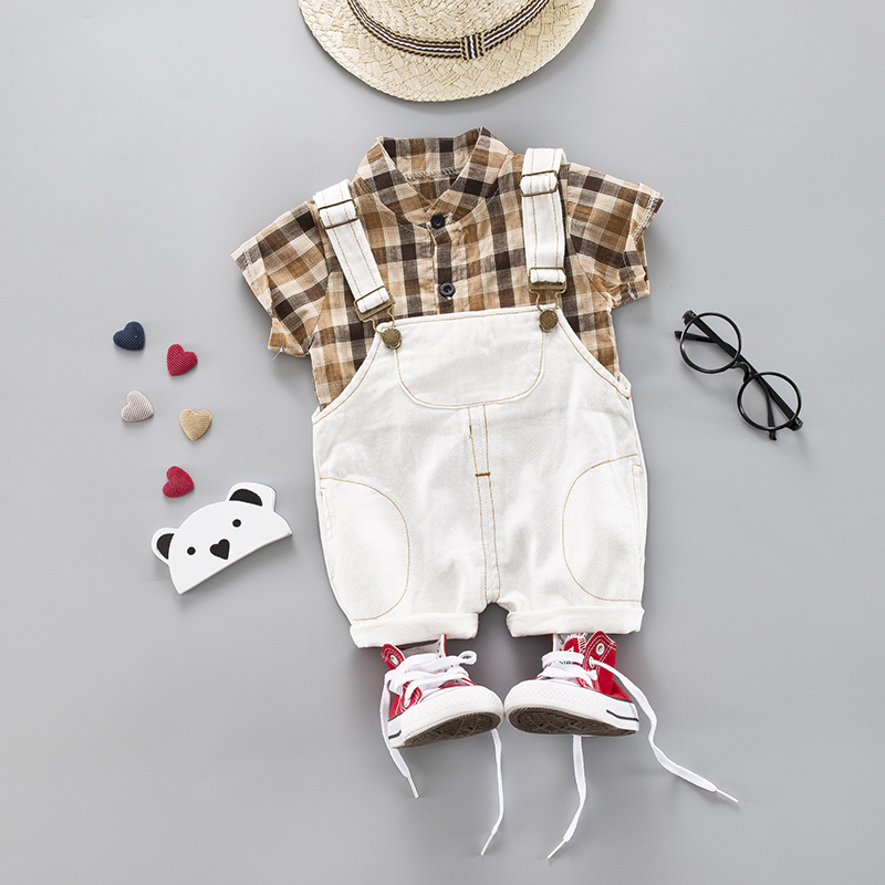 Little Boys Party Clothing Baby 2pieces/Set Clothing Sets Khaki Plaid Shirt + Shorts Infant Outfits Set Baby Clothes Suit