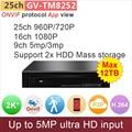 16ch 1080 P ONVIF NVR DVR h.264 2 xSATA compatível com 5mp/3mp/960 P/720 P de vídeo em rede ip cmaera app sistema de cctv GANVIS GV-TM8252