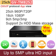 2xSATA 16ch 1080P CCTV NVR 25ch 960P 9ch 5mp/4mp/3mp IP cctv camera input ONVIF network video recorder HDMI P2P GANVIS GV-TM8252