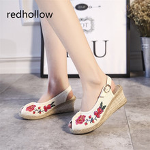 Women Wedges Sandals Vintage Embroidered Summer Linen Canvas Shoes Peep Toe Platform Ladies Pumps