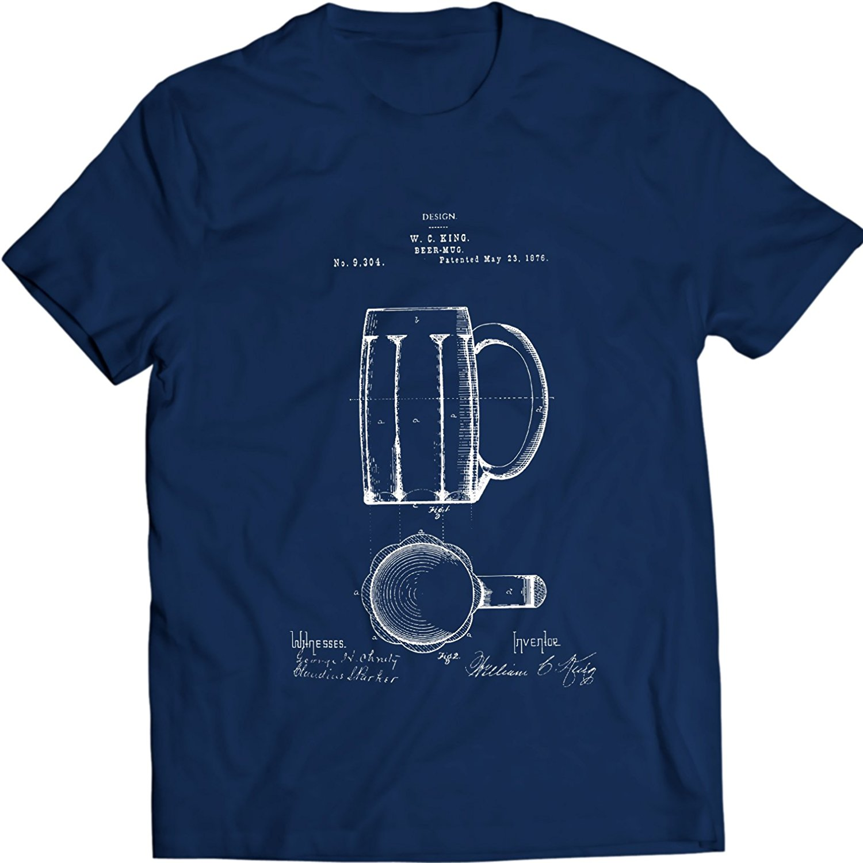 2019 New Cool Tee Shirt Beer Mug 1876 Patent T-Shirt Drink Tee Fashion Cotton T-shirt