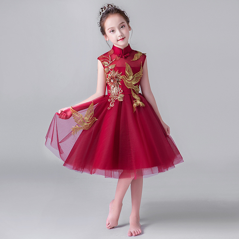 2019 Hot Sale Red Wine Embroidery Elegant   Flower     Girl     Dresses   Appliques Princess Party Pageant First Communion   Dresses