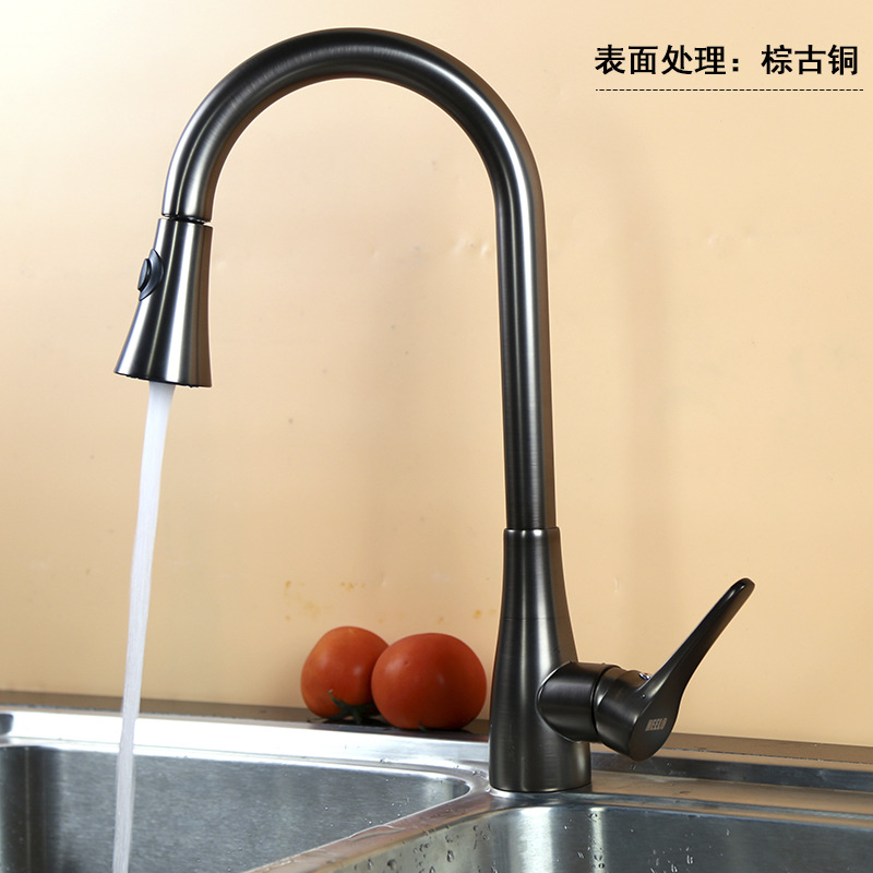 European Antique Kitchen Faucets Black Pull Out Spray Basin Faucet Swivel Single Handle Brass Polished Sink Mixer Hot Cold Water kitchen faucet single handle hole pull out spray brass kitchen sink faucet mixer cold hot water taps torneira cozinha gyd 7111r