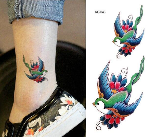 Wodoodporna Tatuaż Naklejki Jaskółka Ptak Obojczyka Modelki Trwały
