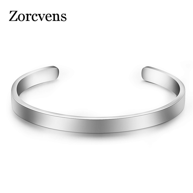 ZORCVENS Silver Color Cuff Bangle for Man and Women Quality 316L Stainless Steel Punk Bangle Bracelet Titanium Jewelry
