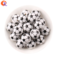 Free Shipping 20mm100pcs Lot Printing Soccer Football Sport On White Acrylic Beads For Kids Chunky Beads