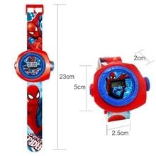 1 pcs Cartoon Digital Watch Spiderman Batman Iron Man Snow White LED Projector 20 Style Action Figures Kid Toy