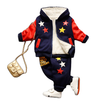 Winter warm velvet thicker soft Autumn star children clothing cotton casual suit jacket boy Hooded sweater tracksuit sport wear
