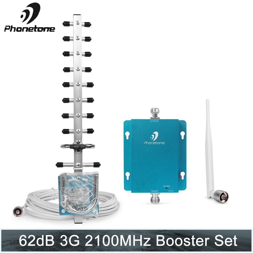 Phonetone Set Repeater 3G Gain 62dB (LTE Band 1) 2100MHz Mobile Phone Signal Booster 2100 UMTS Cellular Repeater Amplifier Mini