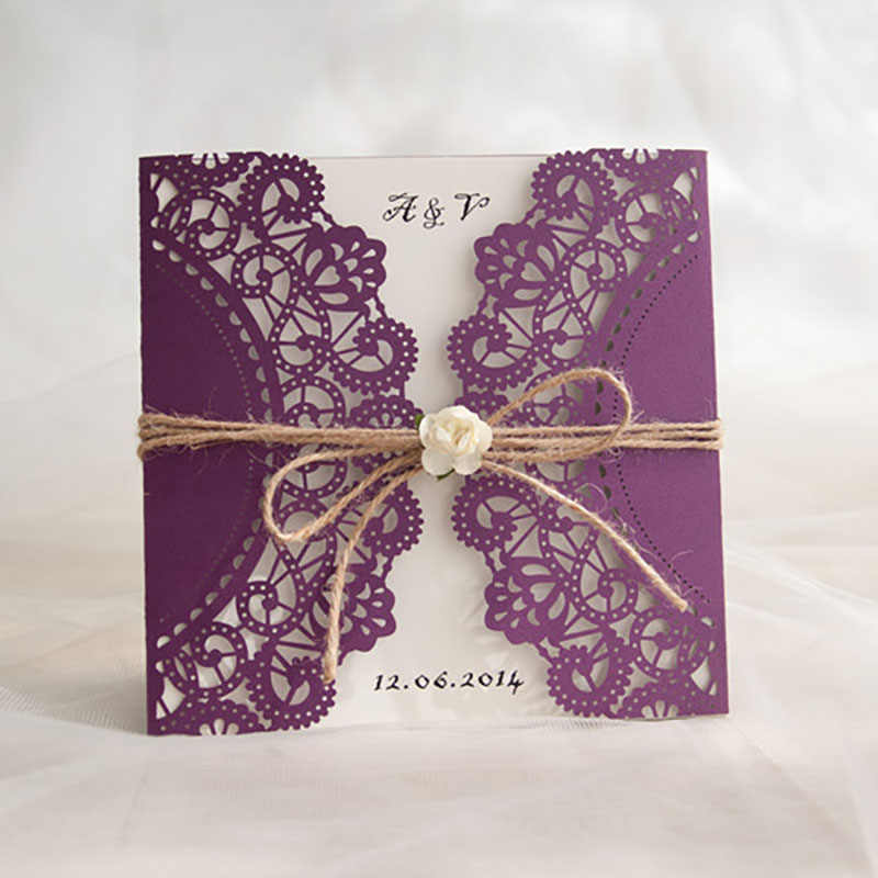 50 Packs Purple Lace Laser Cut Wedding Invitations Postcards Blank Cards Post Card Convite De Casamento Birthday With Envelope
