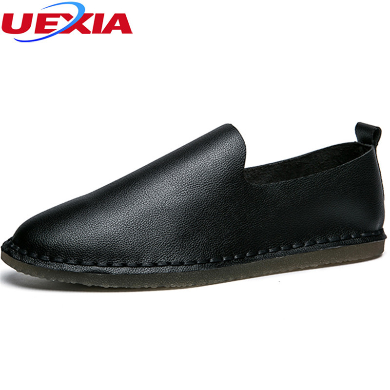 UEXIA Male Flats Men's Shoes Leather Casual Fashion Designer Spring Autumn Slip-on Designer Brand Luxury Flats Lesiure Loafers new 2017 men s genuine leather casual shoes korean fashion style breathable male shoes men spring autumn slip on low top loafers