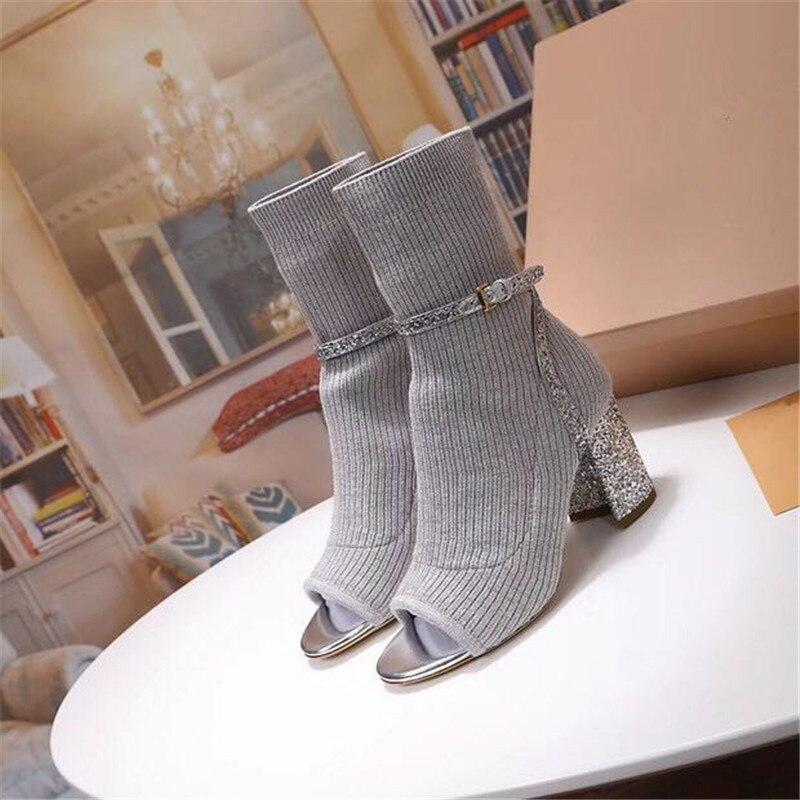 Glitter Knitting Sock Booties Women Sexy Open Toe Buckle Belt Hoof Heel Autumn Winter Ankle Boots-in Ankle Boots from Shoes    3