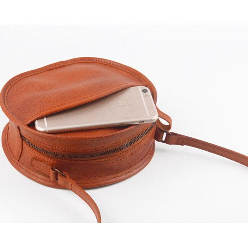 YeeSupSei mode femmes Mini sac rond en cuir véritable circulaire bandoulière sac à bandoulière Messenger dame décontracté couleur unie Bolsa - 2