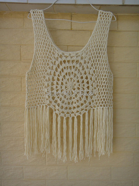 Hippie Fringed Tank Top Crochet Fringed Vest Summer Lace Beach