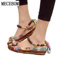 2017 New fashion Women Ethnic Lace Up Beading Round Toe Comfortable Flats Colorful Loafers casual embroidered cotton shoes 7013W цена 2017