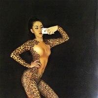 Sexy Female Festival Jumpsuit Stage Wear Leopard Print Leotard Elasticity Bodysuit Party Nightclub Dance Performance Costume DJ