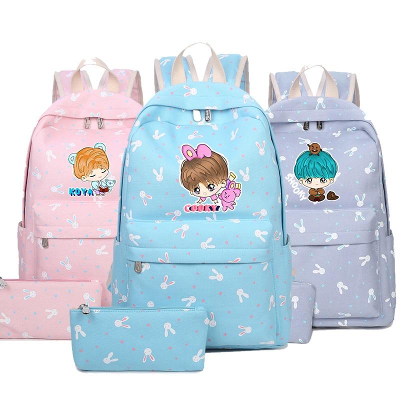 2018 New BTS Bangtan Boys Printing Backpack Canvas School Bags Mochila Travel Bags Laptop Backpack Fashion BagTZ цена