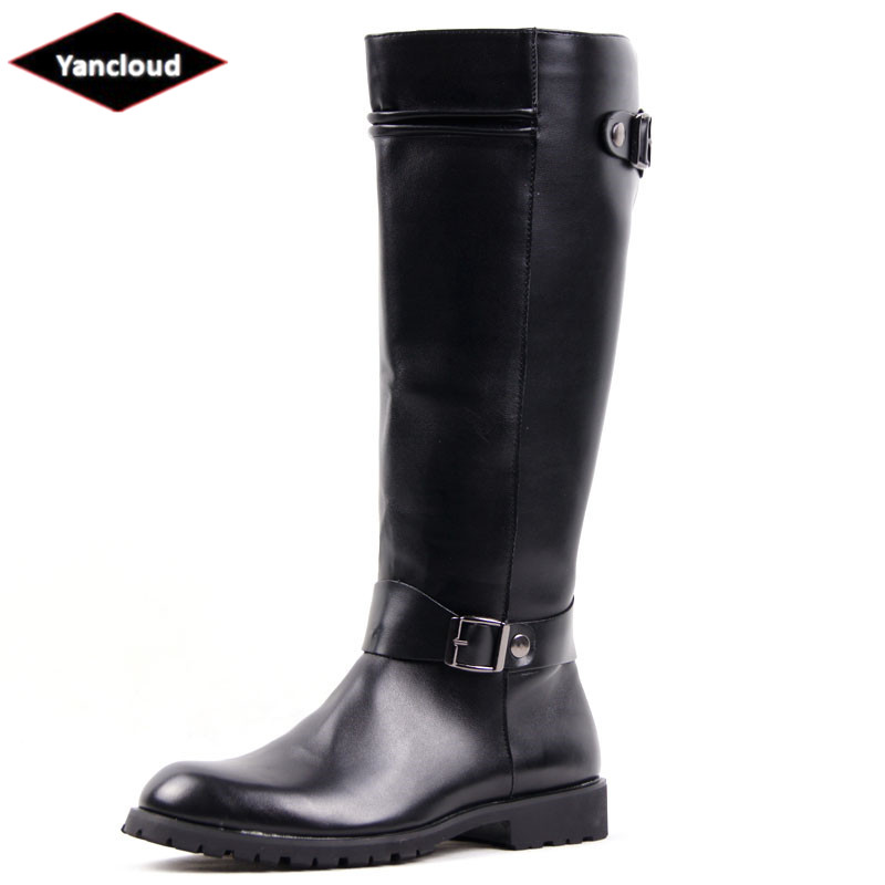 Fashion Mid Calf Mens Riding Boots Waterproof Leather Buckle Martin Boots New 2018 Long Military Boots Men Winter Shoes 2018 winter men riding boots mid calf military botas blue black genuine leather knight martin shoes male fashion safety footwear