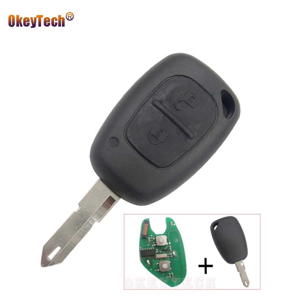 OkeyTech 2 Button Remote Control Uncut 206Blade Car Key Shell Cover Case Fob for Renault Vivaro Master Trafic Vauxhall ID46 Chip