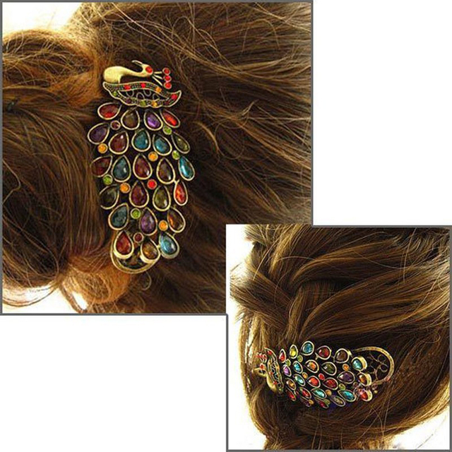 Vintage Peacock Multicolor Crystal Hairpin Hairclip